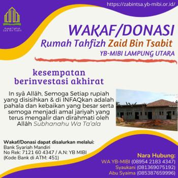 wakaf donasi rumah tahfidz zain bin tsabit lampung